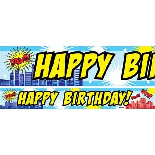Banner: Super Hero Blue Birthday Paper Banners 1 design 1m each