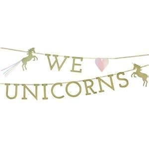 Banner: We Heart Unicorn Glitter Letter Banner - 3m