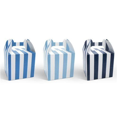 Blue Stripe Cupcake Boxes - 12.5cm x6pk