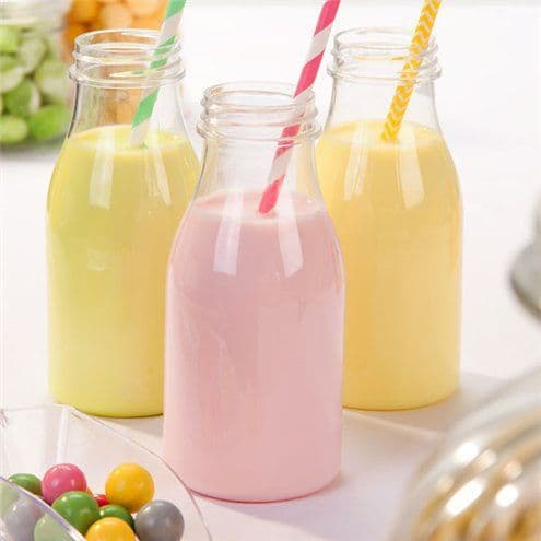 Bottles: Clear Plastic Milk Bottles x4