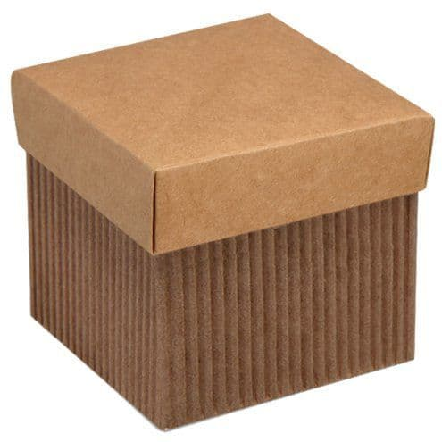 Box: Corrugated Square Favour Box With Lid - 5cm x10pk