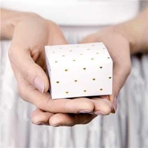 Box: Gold Heart Favour Boxes x10pk