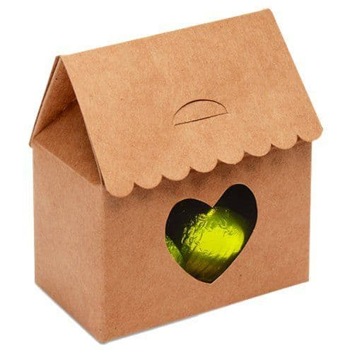Box: Kraft House With Heart Favour Box - 7cm x10pk