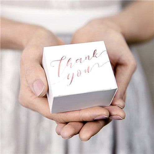 Box: Rose Gold Thank You Favour Boxes x10pk