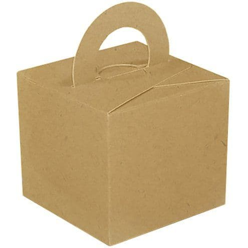 Box/Weight: Craft Natural Cube Balloon Weight/Favour Boxes - 6.5cm x10pk