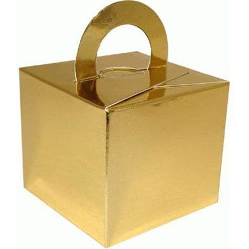 Box/Weight: Gold Cube Balloon Weight/Favour Boxes (10pk)