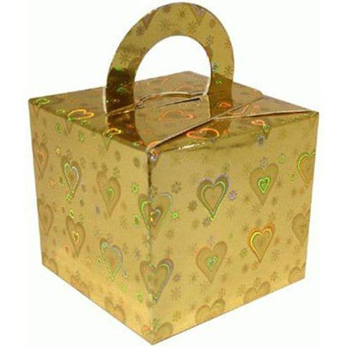 Box/Weight: Holographic Heart Gold Cube Balloon Weight/Favour Boxes (10pk)