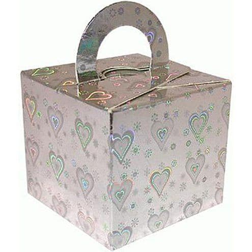 Box/Weight: Holographic Silver Heart Cube Balloon Weight/Favour Boxes - 6.5cm x10pk