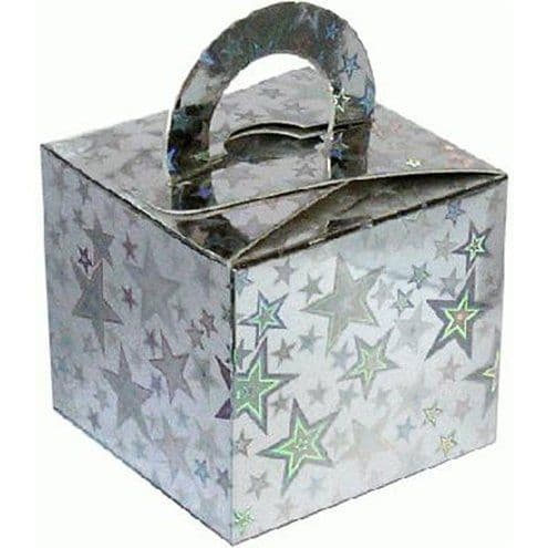 Box/Weight: Holographic Silver Star Cube Balloon Weight/Favour Boxes - 6.5cm x10pk