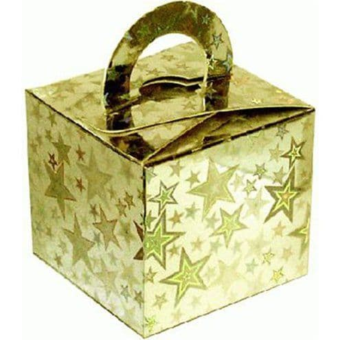 Box/Weight: Holographic Star Gold Cube Balloon Weight/Favour Boxes (10pk)