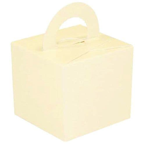 Box/Weight: Ivory Cube Balloon Weight/Favour Boxes - 6.5cm x10pk