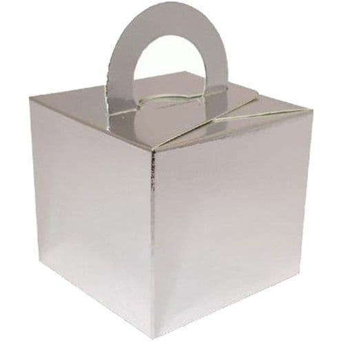 Box/Weight: Silver Cube Balloon Weight/Favour Boxes - 6.5cm x10pk