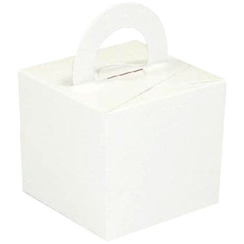 Box/Weight: White Cube Balloon Weight/Favour Boxes - 6.5cm x10pk