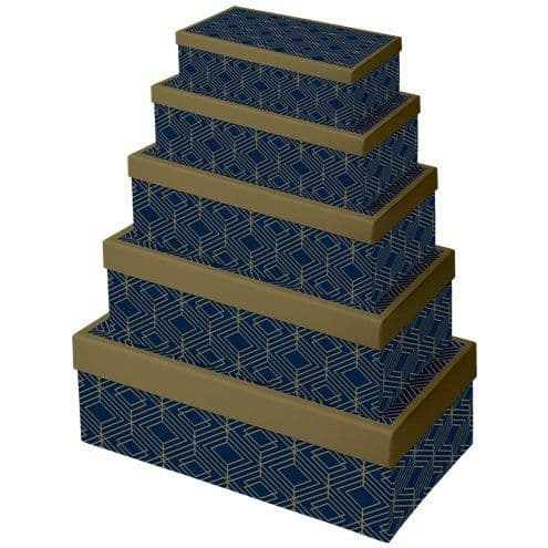 Boxes: Navy & Gold Geode Gift Boxes x5pk