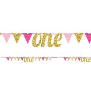 Bunting: Age One Pink & Gold Glitter Bunting - 2.7m