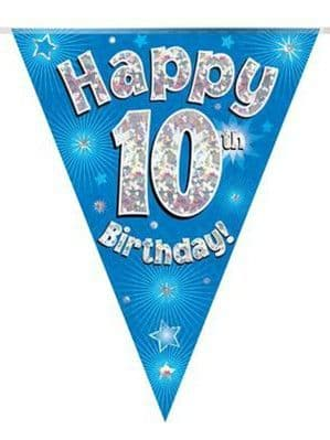 Bunting: Blue Happy 10th Birthday Holographic Flag Banner