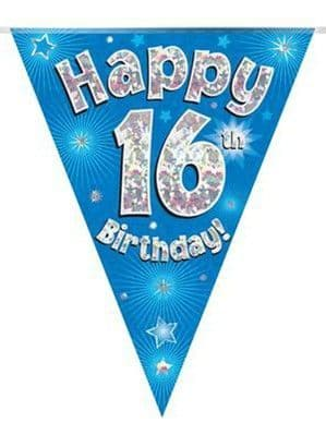 Bunting: Blue Happy 16th Birthday Holographic Flag Banner