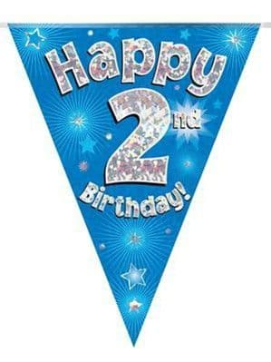 Bunting: Blue Happy 2nd Birthday Holographic Flag Banner