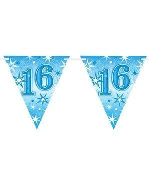 Bunting: Blue Sparkle Age 16 Birthday Flag Banner
