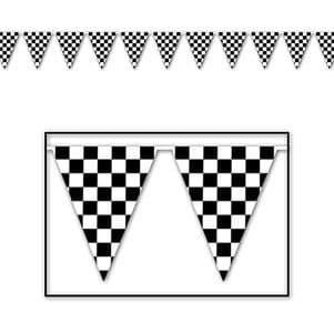 Bunting: Cars Party Plastic Checkered Flag Banner - 12ft