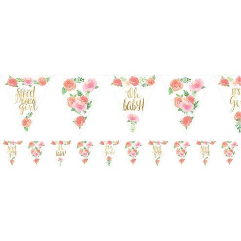 Bunting: Floral Baby Paper Bunting - 4.6m