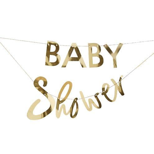 Bunting: Gender Reveal Gold Baby Shower Balloon & Bunting Kit