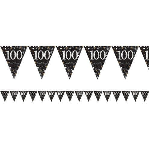 Bunting: Gold Celebration Age 100 Prismatic Foil Bunting - 4m