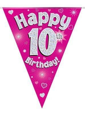 Bunting: Pink Happy 10th Birthday Holographic Flag Banner