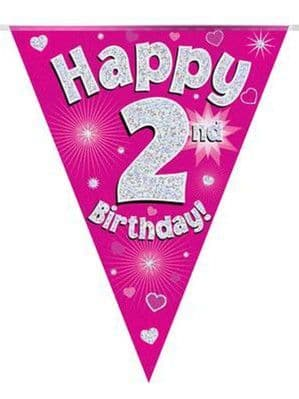 Bunting: Pink Happy 2nd Birthday Holographic Flag Banner