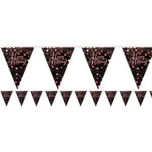 Bunting: Pink Sparkling Celebration Happy Birthday Bunting - 4m