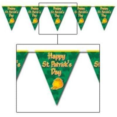 Bunting: Plastic Flag Banner - 3.65m St Patrick's Day Decoration (each)