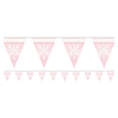 Bunting: Radiant Cross Pink Flag Banner - 3.6m (each)