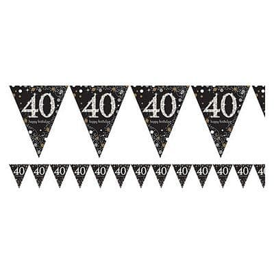 Bunting: Sparkling Celebration Age 40 Prismatic Foil Bunting (each)