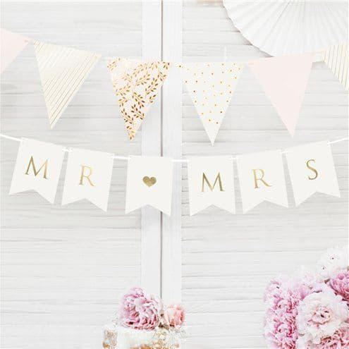 Bunting: White Mr & Mrs Bunting - 85cm