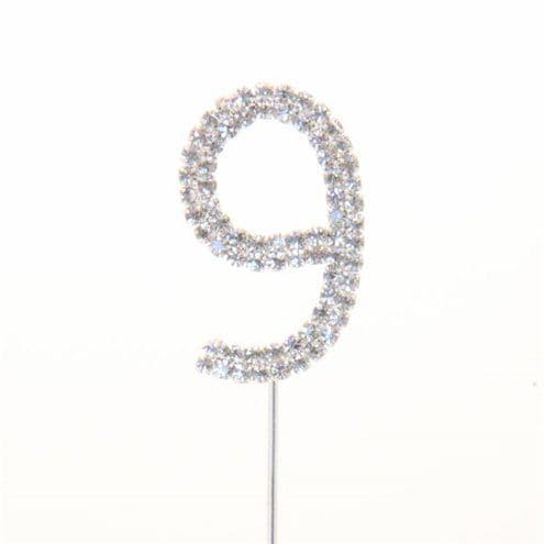 Cake Pick: Number 9 Diamante Cake Pick