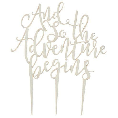 Cake Topper: Beautiful Botanics 'And So The Adventure Begins' Wooden Cake Topper
