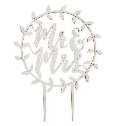 Cake Topper: Beautiful Botanics Wooden 'Mr & Mrs' Cake Topper