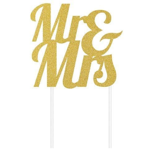 Cake Topper: Mr & Mrs Gold Glitter Cake Topper - 24cm