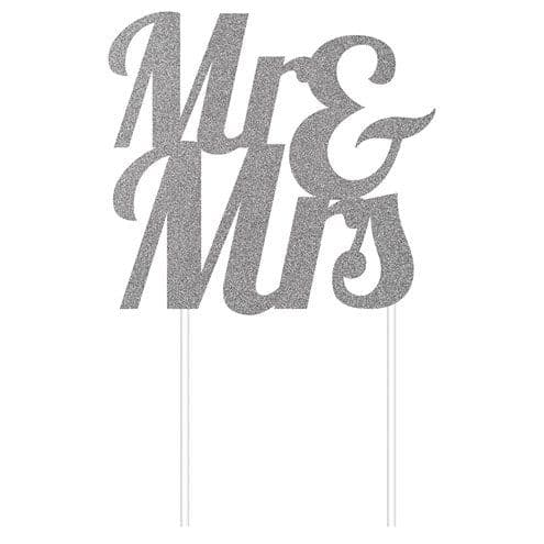 Cake Topper: Mr & Mrs Silver Glitter Cake Topper - 24cm
