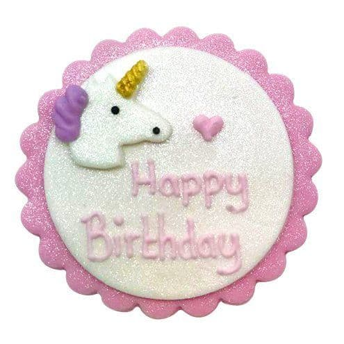 Cake Topper: Shimmering Unicorn Sugar Plaque - Cake Decoration