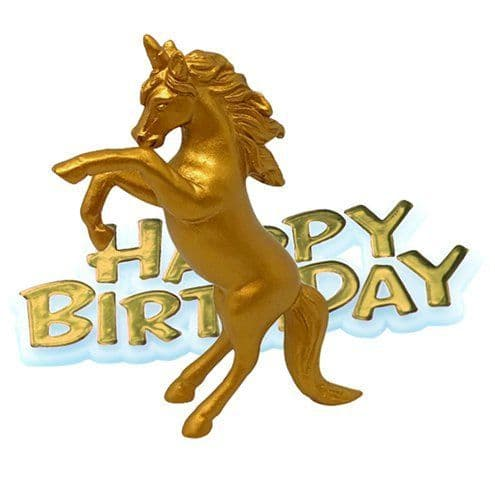 Cake topper: Unicorn Gold Happy Birthday Cake Topper - 8cm