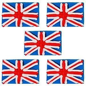 Cake Topper: Union Jack Sugar Decorations 5pk