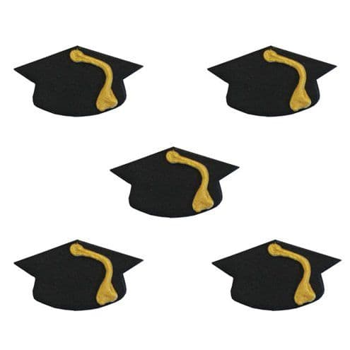 Cake Toppers: Catering Supplies Graduate Mortar Hat Sugar Toppers (5pk)