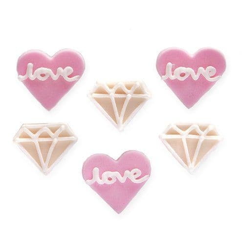 Cake Toppers: Engagement Sugar Cake Toppers - 6pk