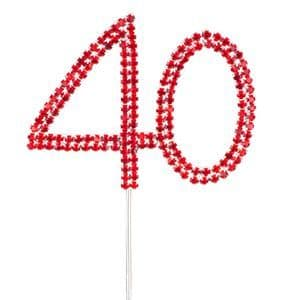 Cake Toppers: Red 40th Birthday / Anniversary Diamante Cake Pick