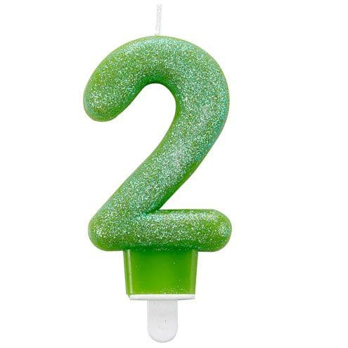 Candle: 2nd Birthday Candle - Green Glitter 7.5cm