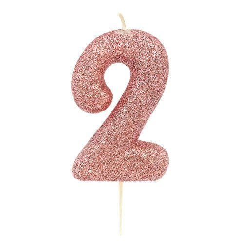 Candle: 2nd Birthday Candles - Rose Gold 7cm