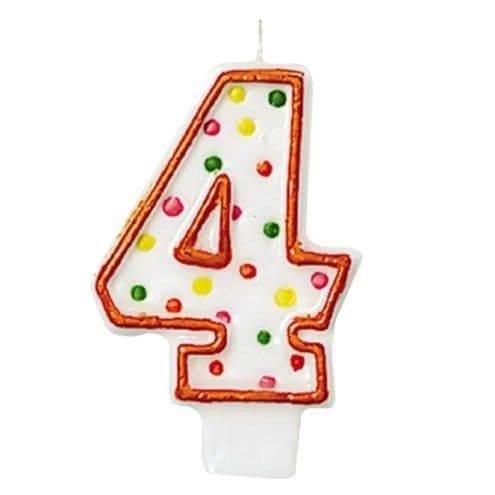 Candle: 4th Birthday Candle - Polka Dot 7.6cm