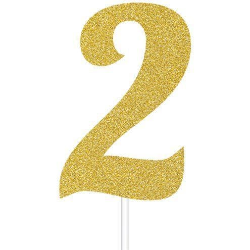 Candle: Number 2 Gold Glitter Cake Topper - 8cm