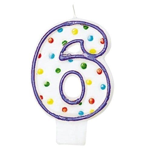 Candle: Number 6 Polka Dot Candle (each)